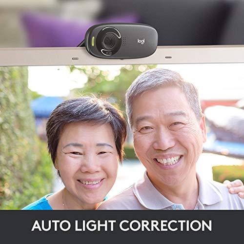 Logitech C310 Webcam HD, HD 720p/30fps, Videochiamate HD Widescreen, Correzione Luce HD, Microfono Riduzione del Rumore, Per Skype, FaceTime, Hangouts, WebEx, PC/Mac/Laptop/Macbook/Tablet, Nero