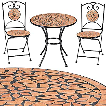 ⋙Prix Salon mobilier de jardin mosaique Roma 1 table 2 chaises ...