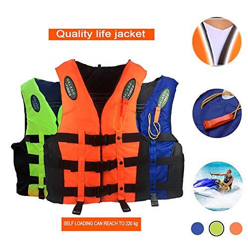 Bosji Life Vest for Adult, Kayak PFD Life Jackets, Jet Ski L-XXXL Plus Size Swimming Equipment Life Jacket Stearns for Buoyancy Fishing Boating Watersport Men Women (Green, XL)