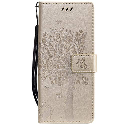Leather Wallet Case for [Motorola One Vision] PU Leather Wallet Phone Case Flip TPU Shockproof Shell Slim Fit Protective Cover for Motorola Moto One Vision / P40 - EYKT021664 Gold