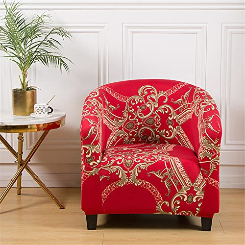 Highdi Funda de Sillón Elástica Chesterfield Lujo Floral EstampadoFunda de Sofá, Universal Antideslizantes, Fundas Protector de Butaca para Dormitorio, Recepción, Club (Rojo 1)