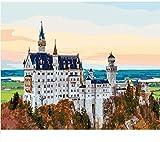 LLXPDZ Bricolaje hecho a mano digital pintura al óleo set decoraciones de regalo para adultos ni?os principiantes amantes de la pintura castillo Sin marco 40x50cm