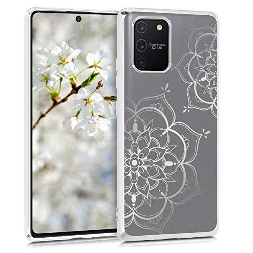 kwmobile Funda Compatible con Samsung Galaxy S10 Lite - Carcasa de TPU Flor Pintada en Plata/Plata/Transparente