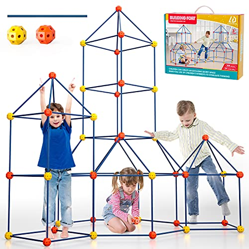 Lucky Doug 162 Pieces Kids Fort Building Kit, Ultimate Construction...