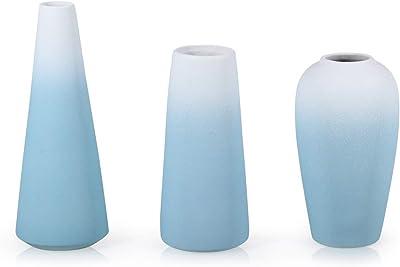 Nobranded Frosted Glazed Porcelain vase Set of Three, Blue