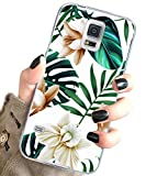 J.west Galaxy S5 Case for Girls Women, Floral Green Leaves with White & Brown Flowers Pattern Design Slim TPU Soft Silicone Phone Cover Shockproof Protective Case for Samsung Galaxy S5 S V I9600
