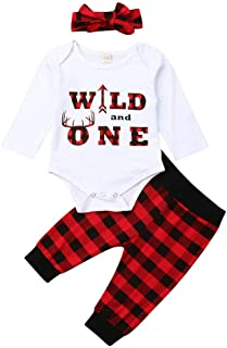 ONE'S Babys First Birthday Outfits Long Sleeve T-Shirt Top with Buffalo Plaid Pant (Red+Headband, 12-18 Months)