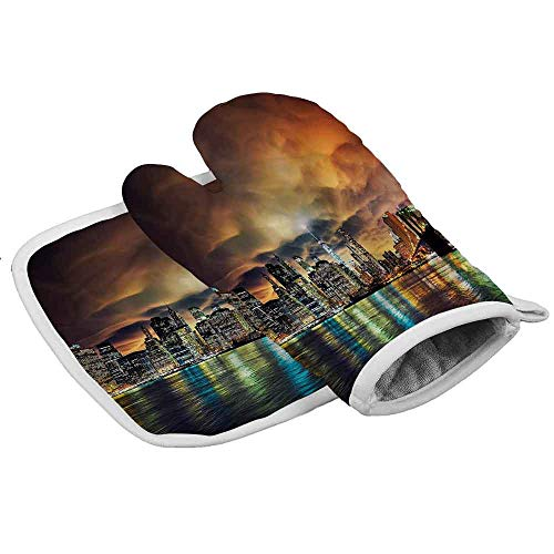 Oven Gloves City, Fantasy Sky NYC Sunset Flexible Oven Gloves for Handling Hot Pot Cookware/Bakeware (2-Piece Sets)