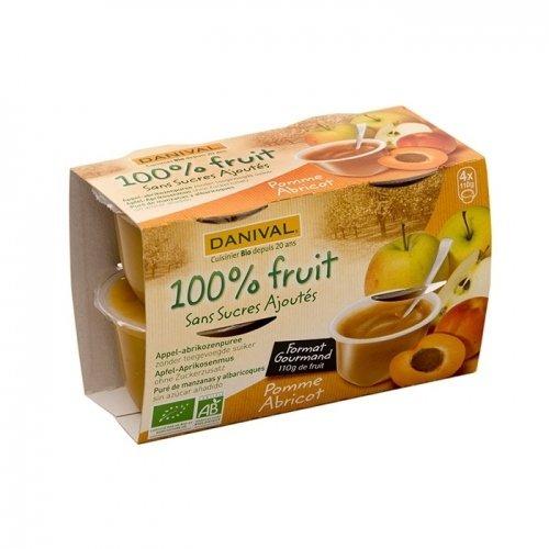 Danival - Purée pomme & abricot 100% fruit bio sans sucres ajoutés 4 x 110 g