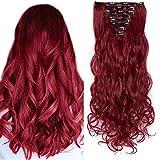SEGO Rajout Cheveux Syntetique a Clip Extension pas Cher Boucle Longue - 60 cm Marron Mèche Rouge Foncé - [8 Piece 18 Clips] Clip in Hair