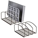 mDesign Set of 2 Pot and Pan Rack – Metal Wire Rack for Cookware Storage – Freestanding Pan Stand for Pans, Pots, Lids and Crockery – Bronze