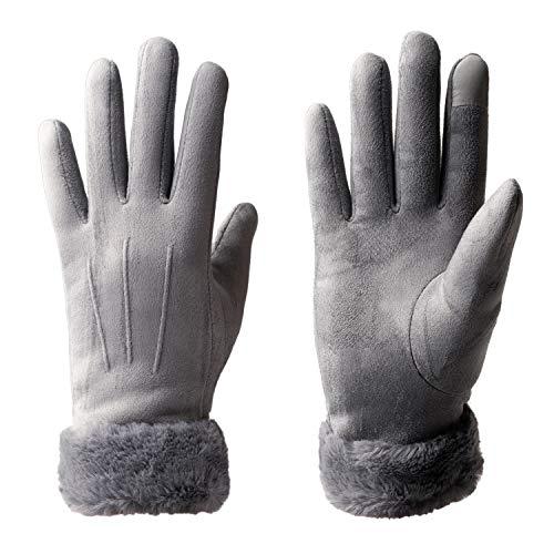 Vagasi Damen Handschuhe Lederhandschuhe Sämischleder Schleife Touchscreen, Grau2