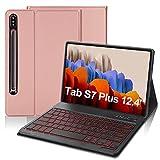 IVEOPPE Funda con Teclado para Samsung Galaxy Tab S7 Plus 12.4'', Teclado Bluetooth 7 Colores Retroiluminada Español Ñ con Cubierta Tipo Folio de PU para SM-T970 / T975 / T976 (Oro Rosa)