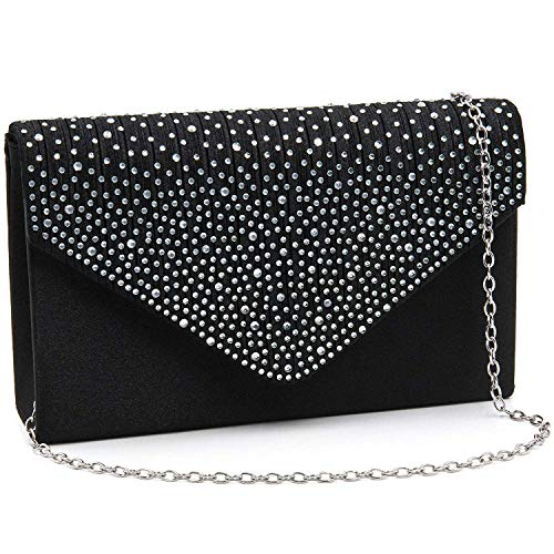 Milisente Evening Bag for Women, Glitter Rhinestone Wedding Evening Purse Crystal Envelope Crossbody Shoulder Clutch Bags (Black)