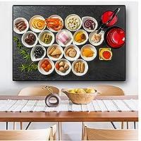 果物野菜食品キッチンレストラン壁アートポスターHdプリントキャンバス絵画家の装飾リビングルームアートワークギフトの装飾-50x70CMフレームなし