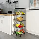 Mocosy Metalldrahtkorb mit Rädern und Deckel, 4-stufiger stapelbarer Obstkorb mit rollendem Obstkorb, Aufbewahrungsbehälter für Küche, Vorratsschrank, Schlafzimmer, Badezimmer