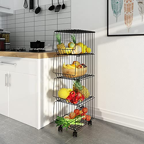 Mocosy 4 Niveles Cestas de Frutas y Verduras de Metal con Ruedas Organizador Apilable para Cocina Negro