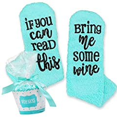 """Specifications: fits us sizes 6 to 11,aqua blue. """"If you can read this, bring me some wine."""" It makes a fun and joyful statement to show that you're a passionate wine lover. Beautiful and comfortable socks keep your feet warm. our wine socks have the..."""
