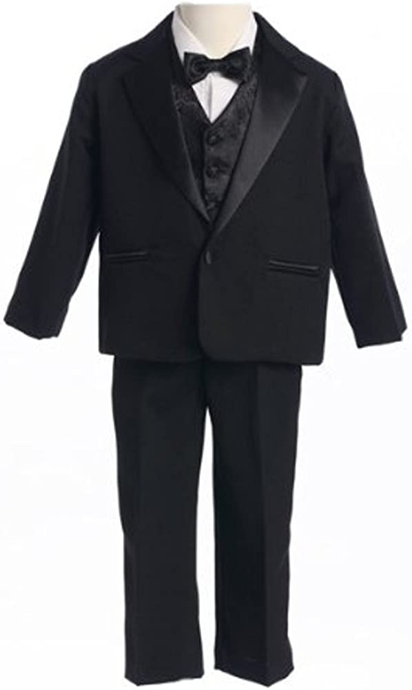 5-Piece New color Black All items in the store Baby Boys' Single with Satin Tuxedo Cumme Breasted