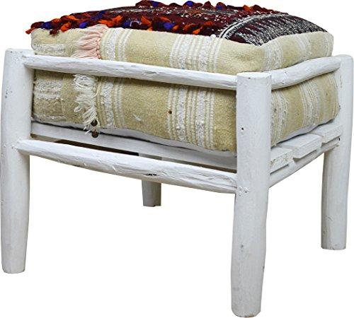 Marokkanischer Stil, Eckig STOOL- Kelim Design, Weiß mit Pailletten, Polster, B 45 T 45 H40 CM