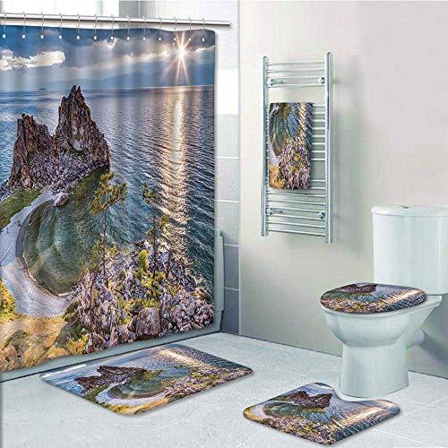 Bathroom Fashion 5 Piece Set shower curtain 3d print,Travel Decor,Shaman Rock Lake Baikal in Russia Coastal Theme Sun Rays Scenic Vista,Green Brown Blue,Bath Mat,Bathroom Carpet Rug,Non-Slip,Bath Towl