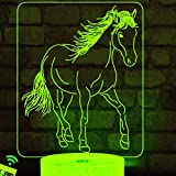 Luz nocturna 3D con diseño de caballo, lámpara de ilusión óptica, 7 colores, interruptor táctil, ilusión nocturna, para dormitorio, hogar, boda, cumpleaños, San Valentín
