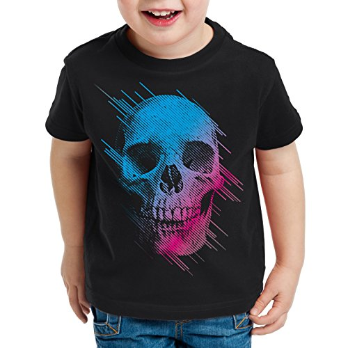style3 Neon Skull T-Shirt Kinder Totenkopf Disco neon Festival, Farbe:Schwarz, Größe:116
