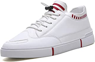 Shangruiqi Athletic Sneaker for Men Sport Shoes Lace Up Leather Low Top Breathable Round Toe Classic Fashion Casual Youth Trend Anti-Wear (Color : White-red, Size : 6 UK)
