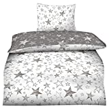 BaSaTex 135x200 Microfaser Flausch Bettwäsche Sterne grau Weiss Taupe Fleece