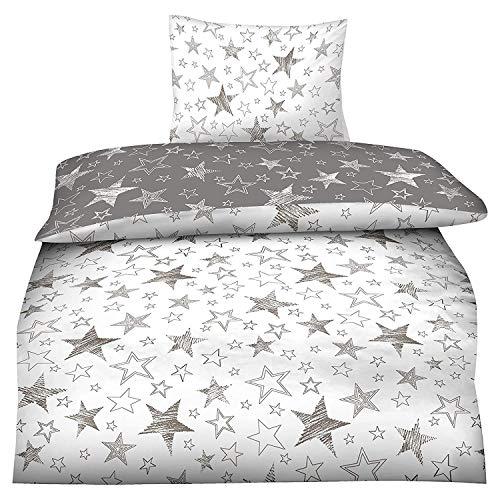 BaSaTex 155x220 Microfaser Flausch Bettwäsche Sterne grau Weiss Taupe Fleece Thermofleece Übergröße 2tlg.Set