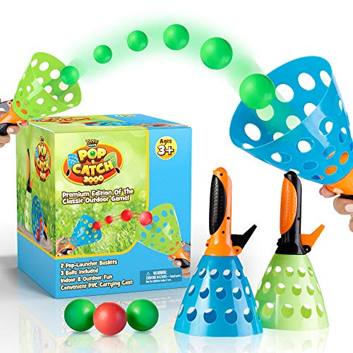 YoYa Toys Pop and Catch Launcher Basket with 3 Balls - for Girls, Boys, Adults, Indoors and Outdoors - Promote Fine Motor Skills and Improve Hand to Eye Coordination - in a Carry Bag