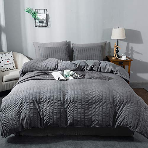 AveLom Seersucker Duvet Cover Set King Size (104 x 90 inches), 3 Pieces (1 Duvet Cover + 2 Pillow Cases), Dark Gray Ultra Soft Washed Microfiber, Textured Duvet Cover with Zipper Closure, Corner Ties