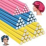 60 Pack 9.4 Inch Flex-rods Hair Rollers+Silk Sleep Bonnet Cap,Twist-flex Foam Hair Roller Curling Rods-Hair Curlers Rollers Hair Curlers Rollers for Short, Medium and Long Thick Hair