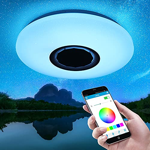 Youool lamparas de techo led dormitorio modernas,36W Lámpara De Techo Led Con Altavoz Bluetooth,focos led interior techo,Iluminación RGB ajustable,APP Mando a Distanci