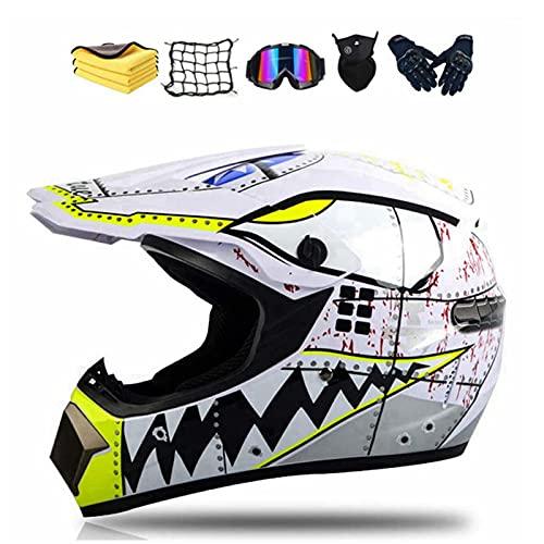 Casco integral para moto de cross para niños con guantes, gafas, máscara, red elástica (M)