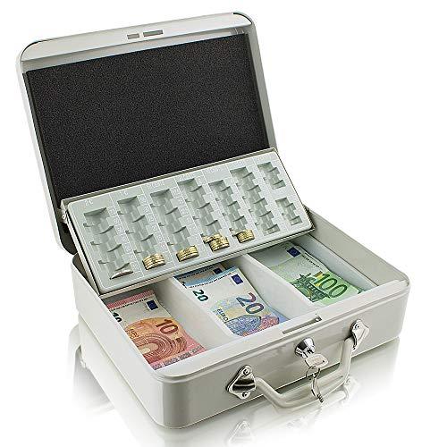 Stahl Geldkassette 30 cm groß, Geldkoffer, flach abschließbar Transportkassette Lichtgrau 300mm x 240mm x 90mm (B/T/H)