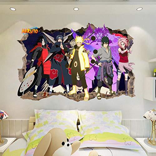 Effekt Wandtattoo- Naruto Anime 3D Schlafzimmer Dekoration 60X90Cm/Aufkleber/Durchbruch/Selbstklebendes Wandbild/Wandsticker/Stein/Wanddurchbruch/Wandaufkleber/Tattoo