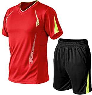 Lavnis Men's Casual Tracksuit Short Sleeve Running Jogging Athletic Sports T-Shirts and Shorts Suit Set