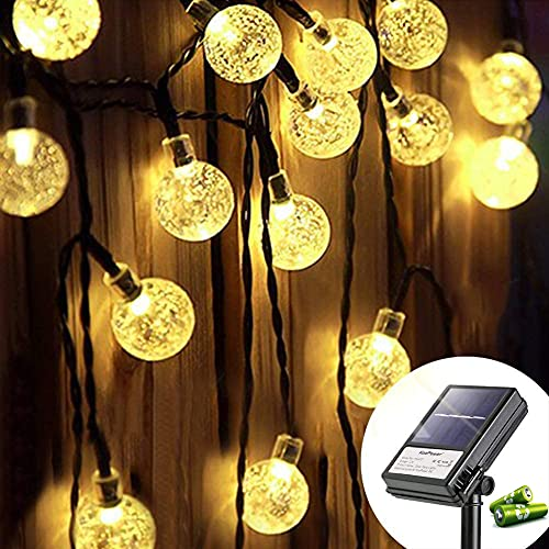 Koopower Solar Gardens String Lights 30 LED 15ft Fairy Lights 8 Mode Waterproof Crystal Ball Lights with Timer for Indoor Outdoor Party, Yard, Festival, Wedding, Christmas Decoration(Warm White)
