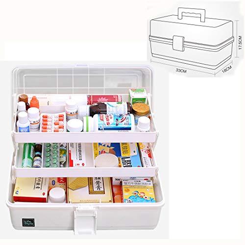 PHYNEDI Medikamenten Organizer, Große Medizinkästchen Hausapotheke mit Unterteilungen Medizinbox Aufbewahrungsbox Medikamenten Box für Zuhause/Firma