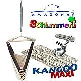 Federwiege Amazonas Kangoo MAXI Babyhängematte mit Inlay Sunny Cacao, Schlummerli-Feder und Deckenhaken