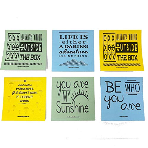 Sticky Notes Inspirational Quotes – Perfect for Lunch Box Notes, Mommy & Teacher Approved – 3 Pads 50 Sheets/Pad 50 Unique Quotes & Designs - Blue Yellow & Green