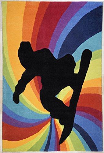 Tapis de tapis enfant haute/multicolore arc-en-ciel tapis/Tapis/Tapis de jeunesse Tapis pour enfants/salon haute qualité/strapazierfähiger beau salon Tapis modèle snoeboarden/CE magnifique Tapis est disponible dans la taille 100 x 160 cm ou 120 x 180 cm/Son Motif. Dans cette Tapis begeistert couleurs tendance Il sera pour regards dans chaque maison., multicolore, 100 x 160 cm