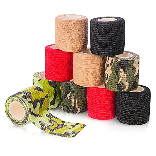 Popuppe 10 rollos de vendaje autoadhesivo, vendaje elástico, vendaje autoadhesivo, primeros auxilios para muñeca, tobillo, 5 cm x 4,5 m