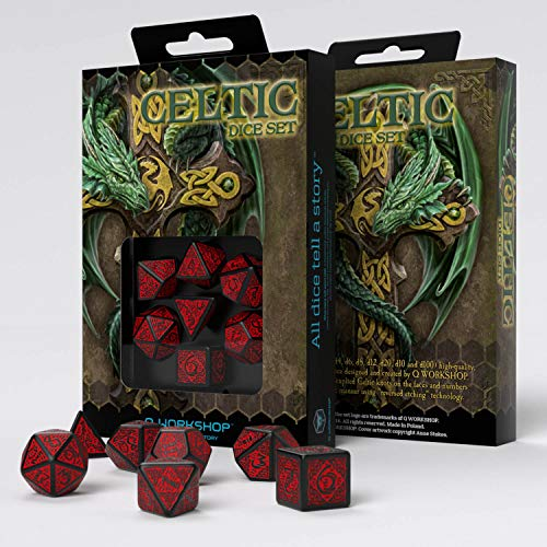 Q-Workshop Celtic Black & Red Dice Set