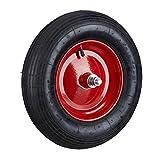 Relaxdays Roue de brouette caoutchouc 200 kg, roue de rechange avec axe, caoutchouc essieu 4.80 4.00-8, noir-rouge