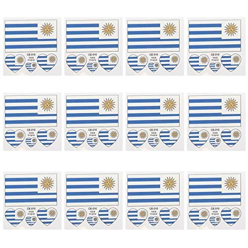 Amosfun 12 Stück Länder Flaggen Temporäre Tätowierung Uruguay Flagge Tätowierungsaufkleber wasserdichte Gesichtsaufkleber für Weltmeisterschaft Olympische Spiele Sport Internationale Wettbewerbe