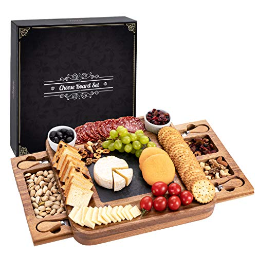 HBlife Acacia Cheese Board & Knife Set Charcuterie Board Cheese Platter with Slide-Out Drawer for Wine, Cheese, Meat , House Warming Gift Perfect Choice for Christmas Wedding (Square)