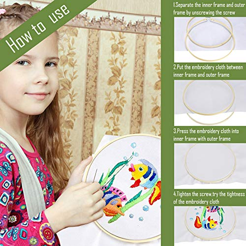 Caydo 6 Pieces Embroidery Hoop Set Bamboo Circle Cross Stitch Hoop Ring 4 inch to 10 inch for Embroidery and Cross Stitch