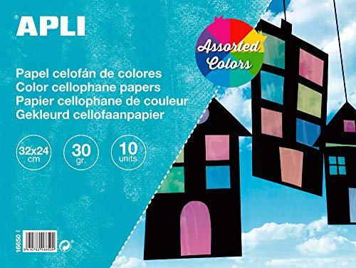 APLI 16650 - Bloc papel celofán surtido 32 x 24 cm 10 hojas